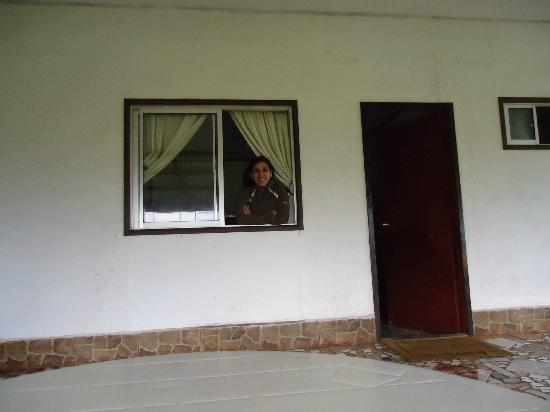 Cabanas Manatea: Ventana de mi habitación con vista al mar