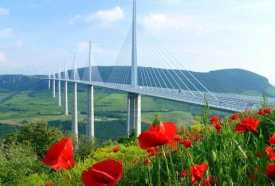Millau Viaduct with summer blooms. May2012 by GuidedStar.
