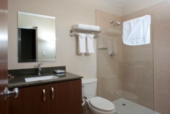 Central Park Hotel: Baño con ducha, amenidades y secador de cabello