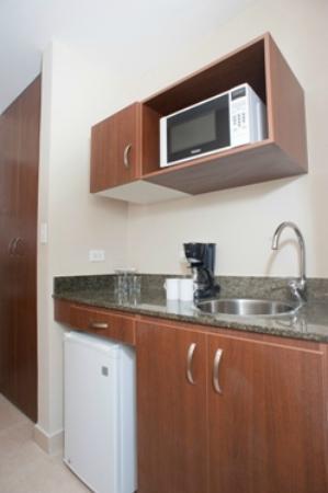 Central Park Hotel: Habitaciones full kitchenette - microondas, cafetera y mini refrigerador