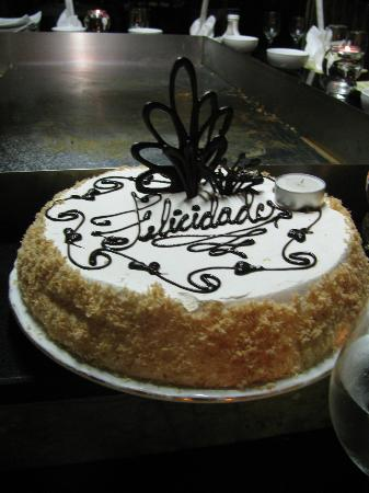 Paradisus Varadero Resort & Spa: Birthday cake at the Japanese a la Carte