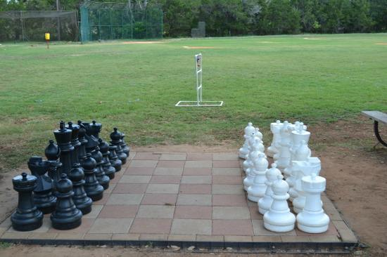 T Bar M Resort: Chess set on our sports field