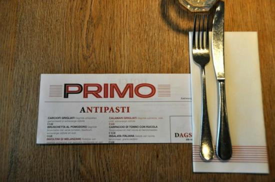 primo: menu'