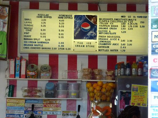 The Ice Cream Store: Ice Cream Store MENU