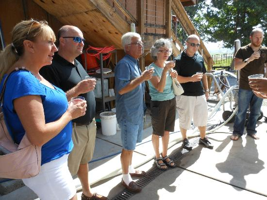 Wine Country Journeys LLC: Our group sampling sauvignon blanc before the fermentation process.