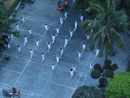 Nha Trang Lodge: The infamous 5am aerobics class!