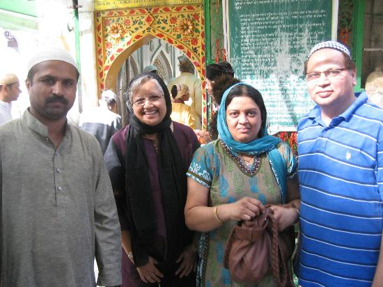 Ajmer, India: Inside shrine with priest and friends
