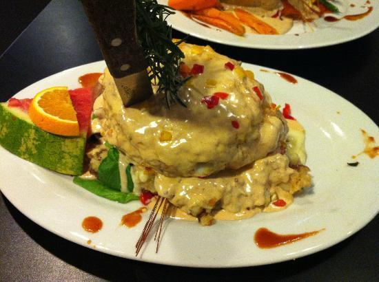 Sage fried chicken benedict as featured on man vs food food network hash house a go go plaza hotel sage fried chicken benedict as featured on man forumfinder Gallery