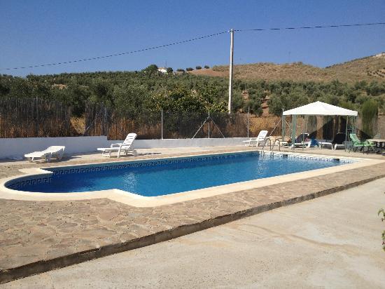 Cortijo Las Olivas: View of the pool from La Casita doorway