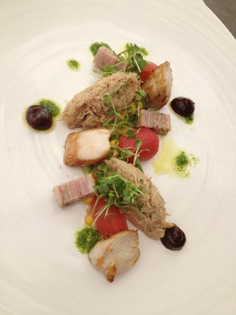 Makaron: Study of rabbit, succotash, prune puree, tomato dressing