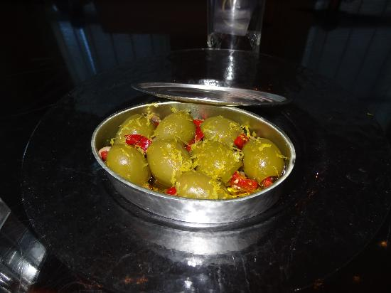 The Bazaar by Jose Andres : Aceitunas Rellenas with Piquito Pepper and Anchovy