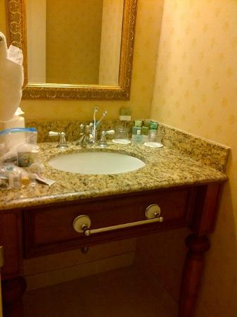 Tarrytown House Estate on the Hudson: nice bathroom but sink/counter was a bit smallish