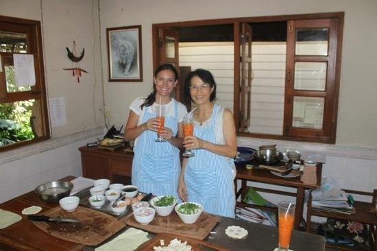 Ruen Come In: me and Mai - the owner - she is a very well know Thai chef in chiang Mai- having Thai teas and c
