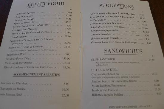 Cafe De Flore Menu