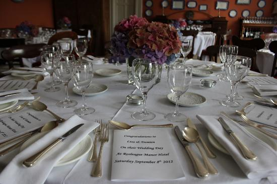 Rosleague Manor Hotel: Reception place settings