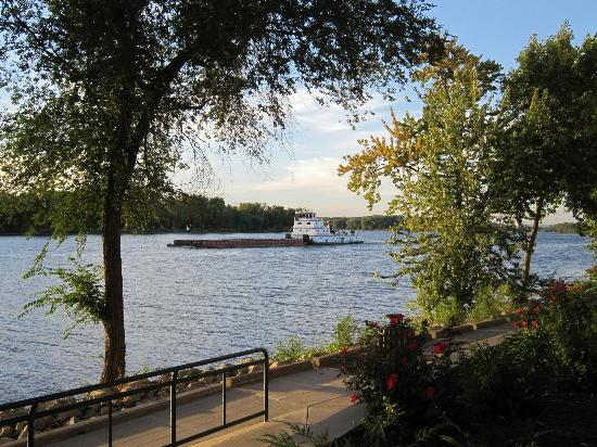 Waterfront Restaurant and Tavern: Barge on the Mississippi from Waterfront Tavern - LaCrosse, WI