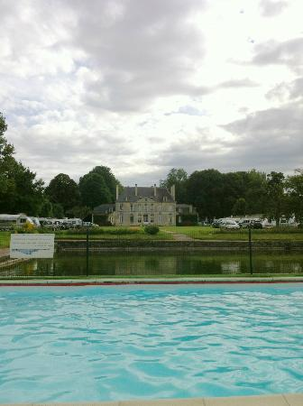 Chateau de Martragny: View from rear of Chateau at far side of pool