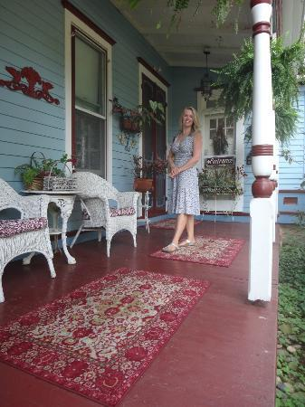 New Hope's 1870 Wedgwood Bed and Breakfast Inn: On the porch of the Wedgewood Inn