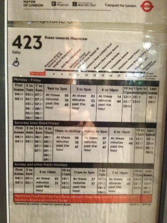 West Drayton, UK: Schedule from terminal 5 to the Hotel