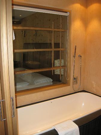 finestra tra bagno con vasca e doccia separate e camera da letto, Disegni interni