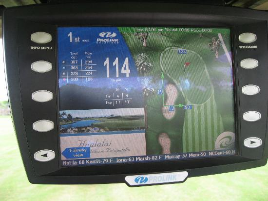 GPS-equipped golf cart with color screen - Picture of Four ... on gps for farm equipment, gps golf ball, gps for 4 wheelers, gps for jewelry, gps for boats, golf push carts, driving range golf carts, gps for hearing aids, gps for jet skis, gps for golf courses, gps for construction, gps for shoes,