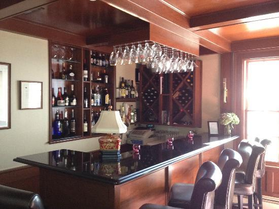 The intimate bar at Harbor Light Inn seats 9