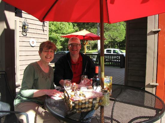 Shadow Mountain Escape: Sampling our anniversary treats outside Ladybug cabin