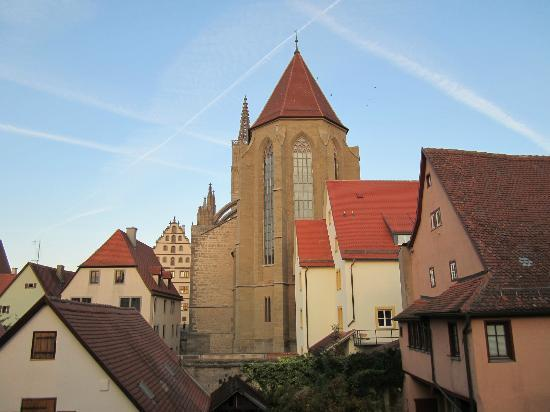 view of the cathedral from our room picture of burghotel rothenburg tripadvisor. Black Bedroom Furniture Sets. Home Design Ideas