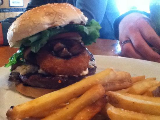 Bruno's Bar & Grill: Tower Burger topped w/ Onion Rings, Sauteed Mushrooms & Cream Cheese