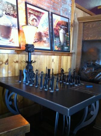 Babb's Coffee House: bottle-opener table chess