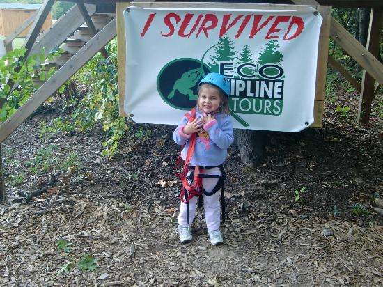 Eco Zipline Tours: My daughter after ziplining