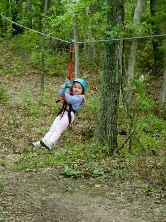 Eco Zipline Tours: My daughter flying across