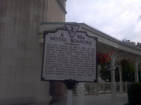 The Hotel Roanoke & Conference Center, Curio Collection by Hilton: Historical marker about the hotel.