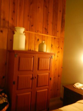 Dude Rancher Lodge: No closet, just the armoire, which is period.
