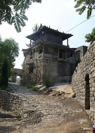Jingxing County, China: Stone temple at the entrance to the village