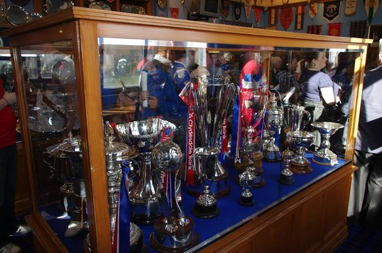 Glasgow, UK: Some of the many trophies on display in the trophy room
