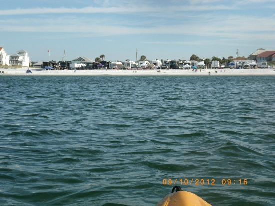 Camp Gulf: View from the kayaks of the beach front sites