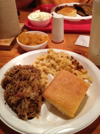Melvin's BBQ: chopped pork, Mac-n-cheese, sweet potato souffle and corn bread.