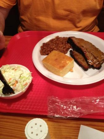 Melvin's BBQ: Brisket with baked beans, cole slaw and corn bread.