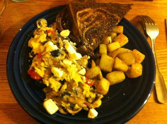 Renaissance Cafe: Greek Scramble with Rye Toast - YUM!