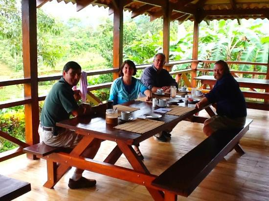 La Anita Rainforest Ranch: main lodge at La Anita with Pablo and new friends