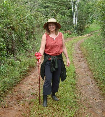 La Anita Rainforest Ranch: my flower hiking stick, on the farm tour