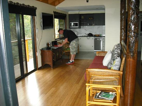 Maleny Tropical Retreat: kitchen/lounge room complete with 3d tv