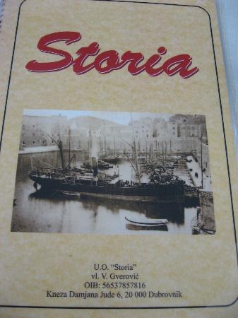 Pizzeria & Spaghetteria Storia : the menu