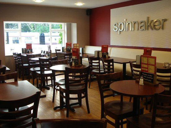Spinnaker: Raised seating area at rear of premises
