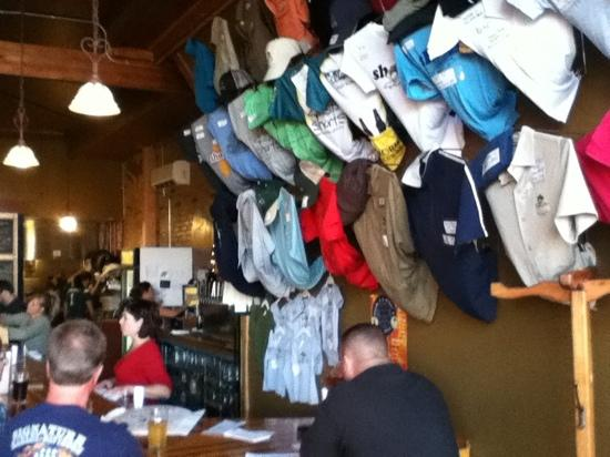 Short's Brewing Company: lost of shirts and hats to choose from.