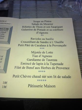 La Table du Meunier: le menu
