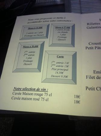 Fontvieille, France: le menu