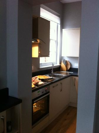 22 Lansdown Place: Compact kitchen but light.