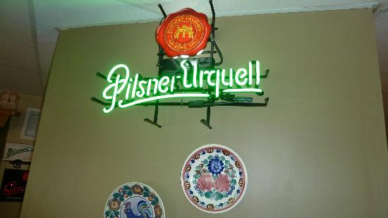 ‪‪Maple Leaf Restaurant‬: Pilsner Urquell sign